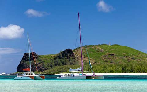 Large Catamarans at Anchor
